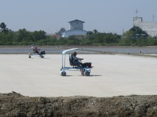 Motorised rolling carts on salt fields, we past 25 miles of these fields