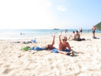 Ko Ma beach Sunbathing, before the 2 near drownings just behind Ginette
