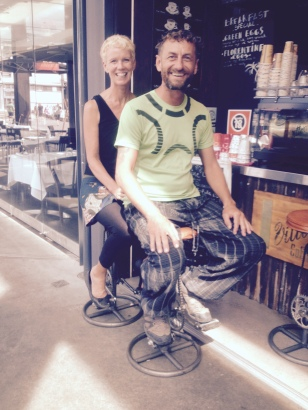 stools made from bike parts, Sydney harbour