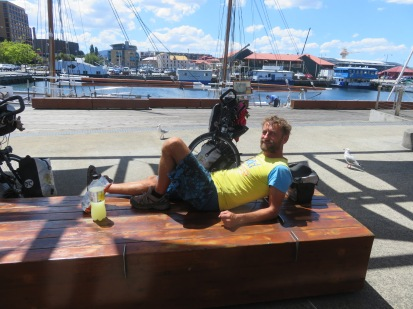 Gay Gary chilling by the harbour in Hobart