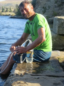 Gary filtering water for our water bottles