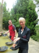 searching for gold in Auckland - Ginette doing a Tommy Cooper impersonation 'not like that, like this'