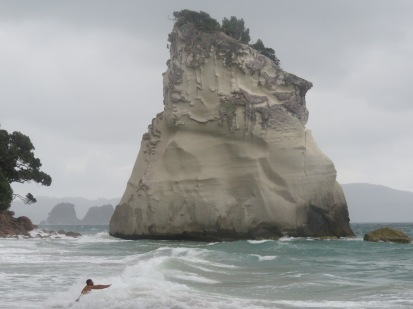 Gary swimming in the wild sea at Cathedral Cove