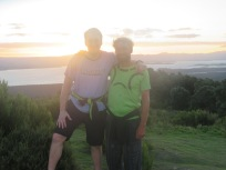 Stu standing on a rock to make Gary look even shorter, at Mount maunganui.