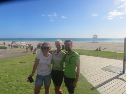 Our new friend Sarah with kevin behind the lens, at Mount Maunganui
