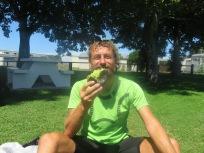 yuk Gary eating an over ripe avocado