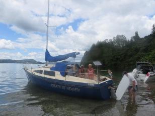 Kevin and Sarah yacht on Lake Rotoiti.