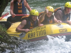 Stu white water rafting, he has just completed a 7ft drop but still smiling