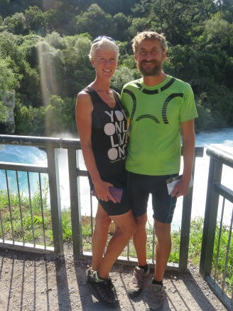The happy couple next to Huka falls