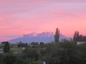 sun setting on Mount Ruapehu
