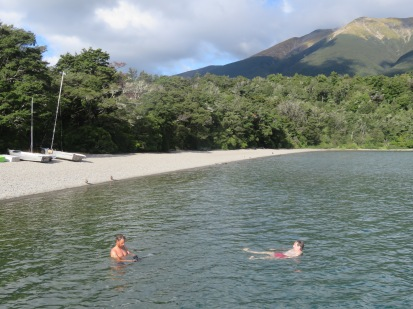 Gary washing his tits in lake Rotoiti, St Arnaud.