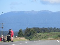 A flat ride to Greymouth with mountains close by.