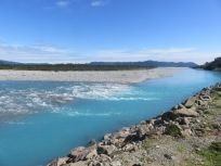 one of the many clear and sky blue flowing rivers crossed on the way to Haast
