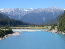 stunning view from a bridge crossing West coast road towards Haast